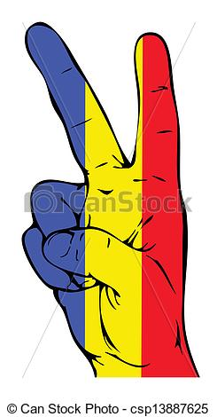 Vector Illustration of Peace Sign of the Romanian flag csp13887625.