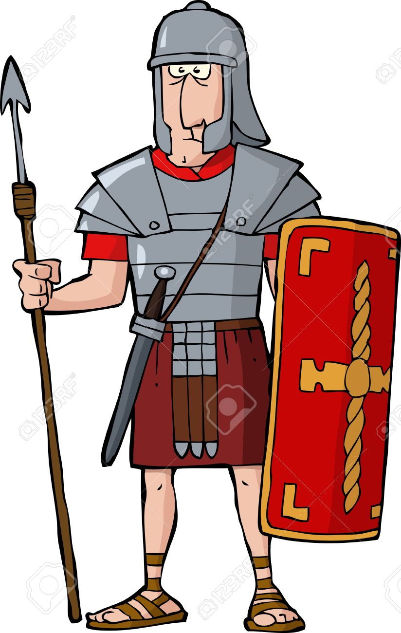 Legionario Romano Su Sfondo Bianco Illustrazione Vettoriale.
