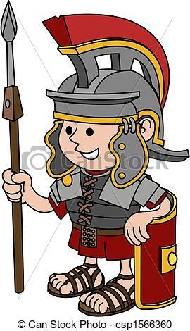 Vector Clip Art de soldado, romano, Ilustración.