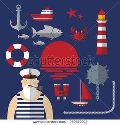 Nautical Sailor Clip Art, Sailboat, Anchor, Buoy, Seagull.