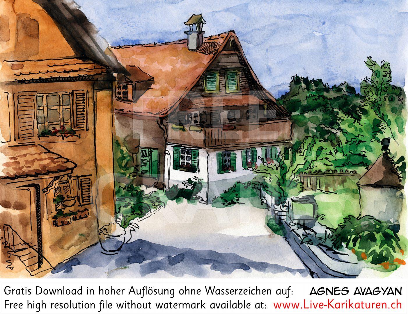 Dorf Bauernhof Landleben.
