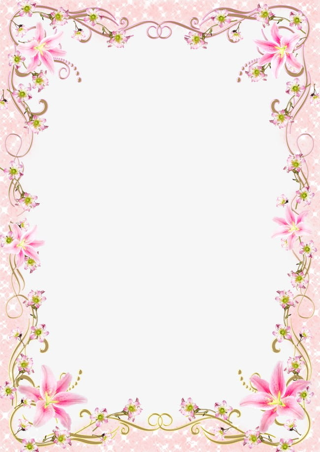 Floral border frame romantic pink line PNG clipart.