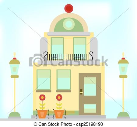 EPS Vectors of One romantic, old building with lamps and flowers.