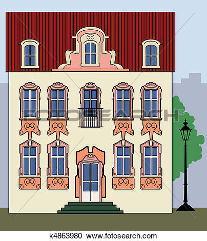 Clipart of Romantic old town house k4863980.