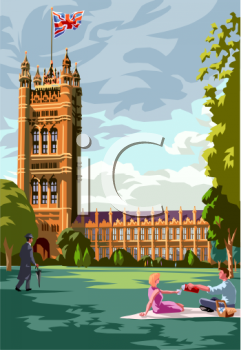 Royalty Free Clipart Image: Couple Having a Romantic Picnic in England.