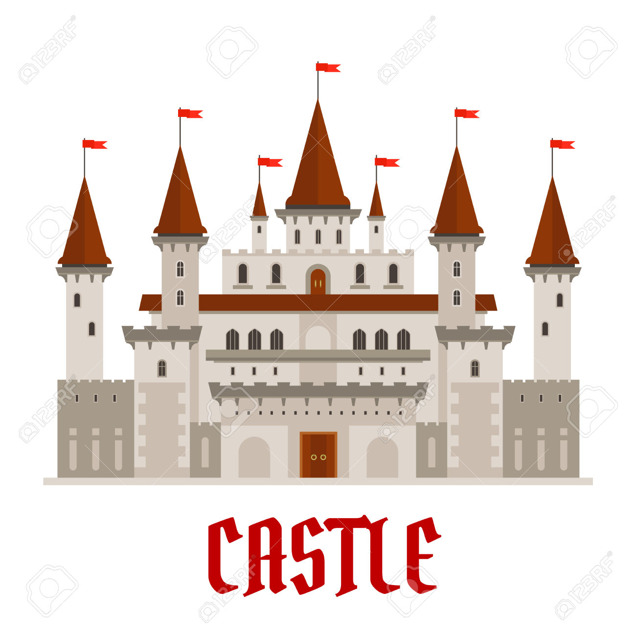 Romantic Medieval Castle Building With Gray Stone Facade In Gothic.