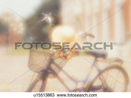Stock Photo of soft focus, romantic, hat, building, background.