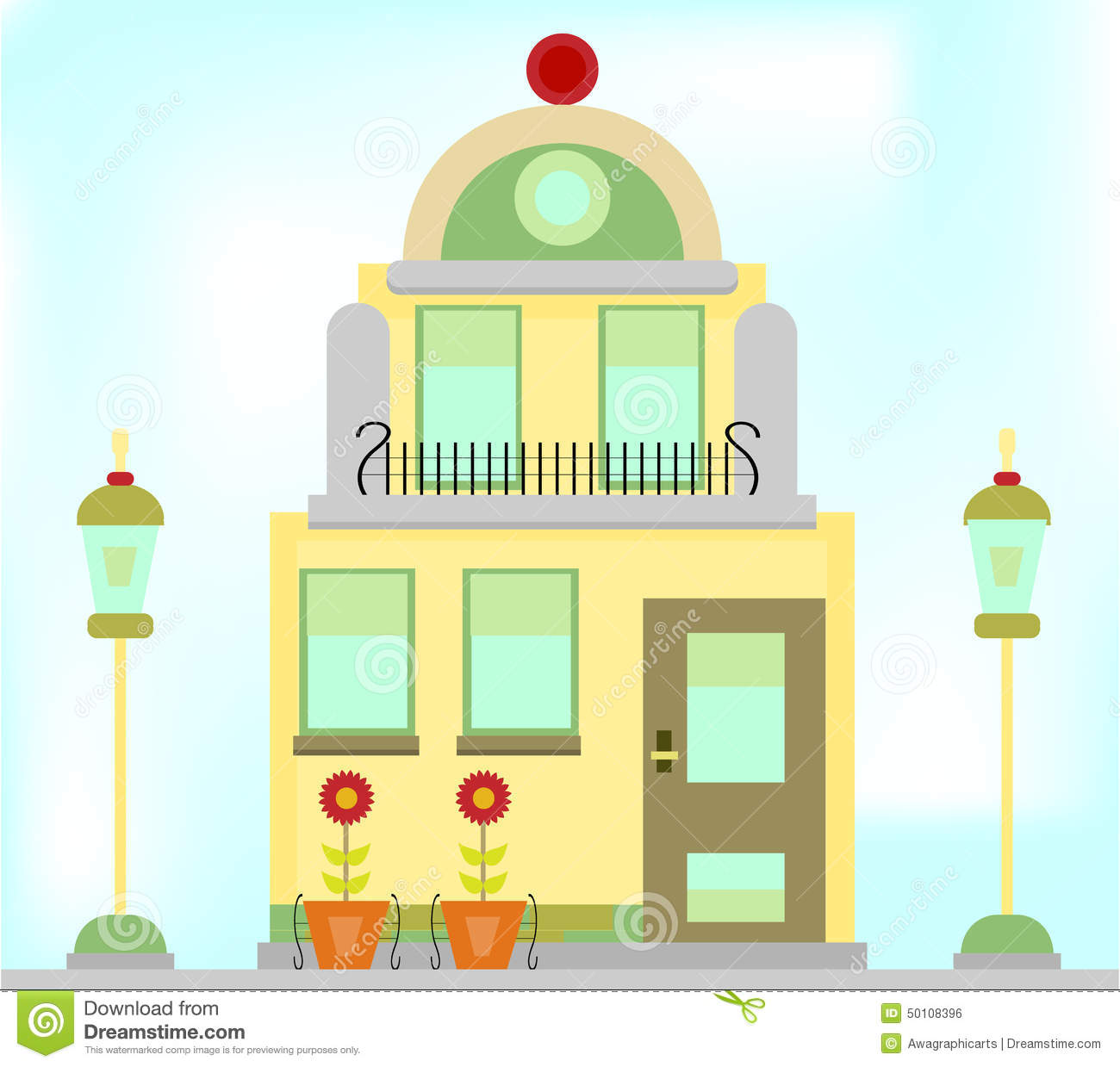 One Romantic, Old Building With Lamps And Flowers Stock Vector.