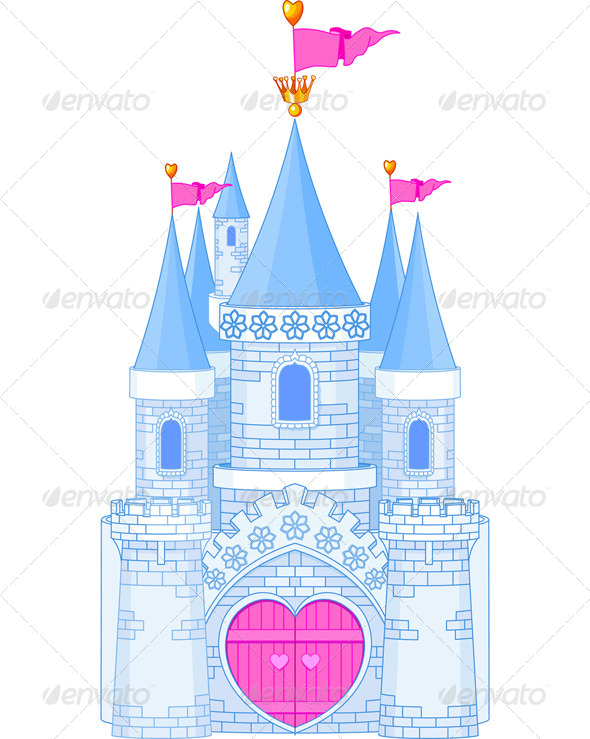 Romantic Castle  architecture, art, blue, building, cartoon.