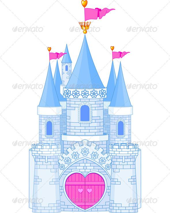 Romantic Castle  architecture, art, blue, building, cartoon.
