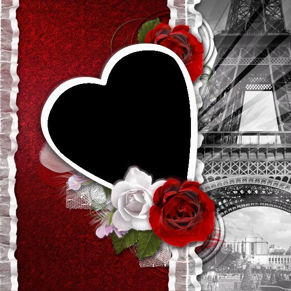 Transparent Romantic Frame Love in Paris.