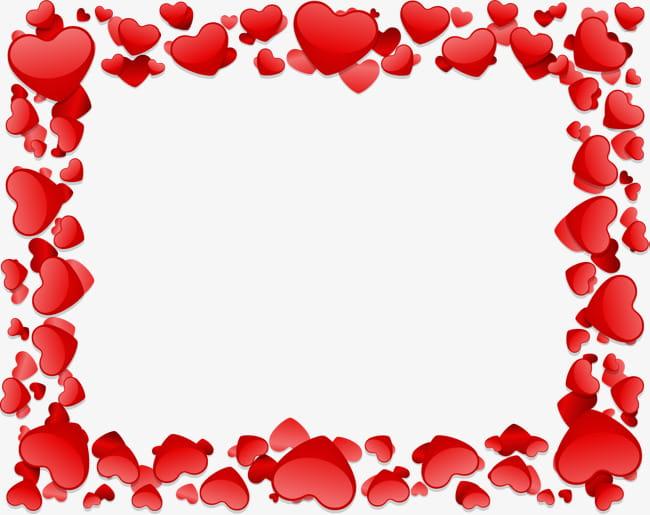 Romantic love border texture PNG clipart.