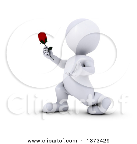 Clipart of a 3d Romantic White Man Holding out a Rose, on a White.