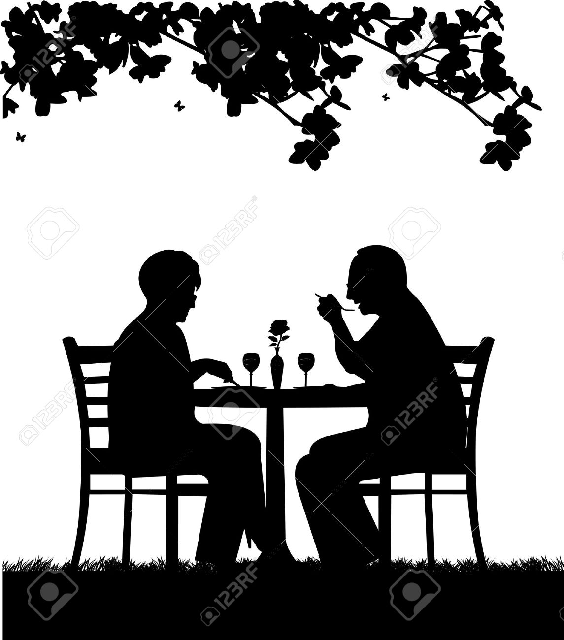 Romantic Dinner Clipart Black And White.