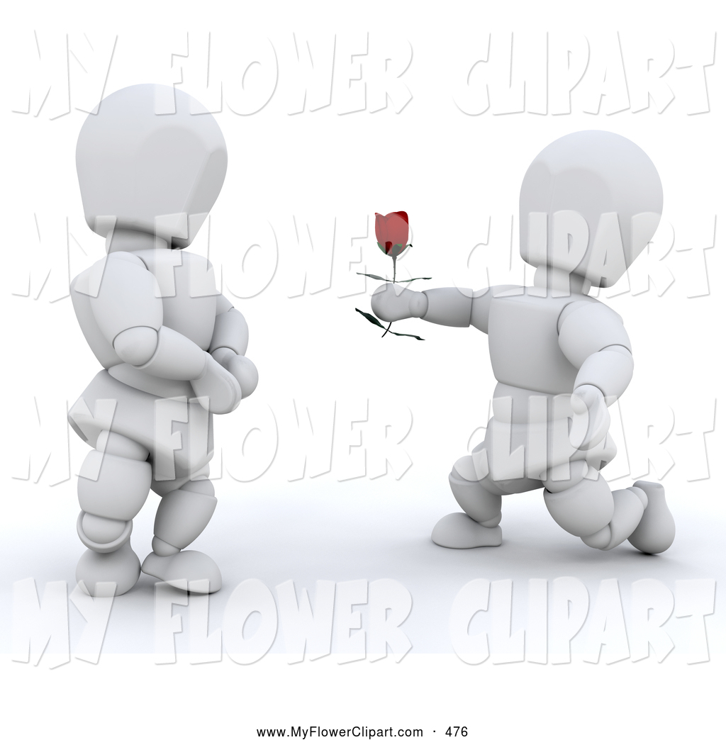Clip Art of a Romantic White Character Kneeling and Offering a.