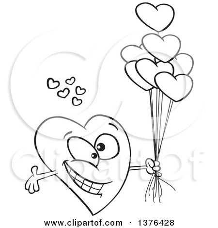 Clipart of a Cartoon Black and White Romantic Love Heart Character.