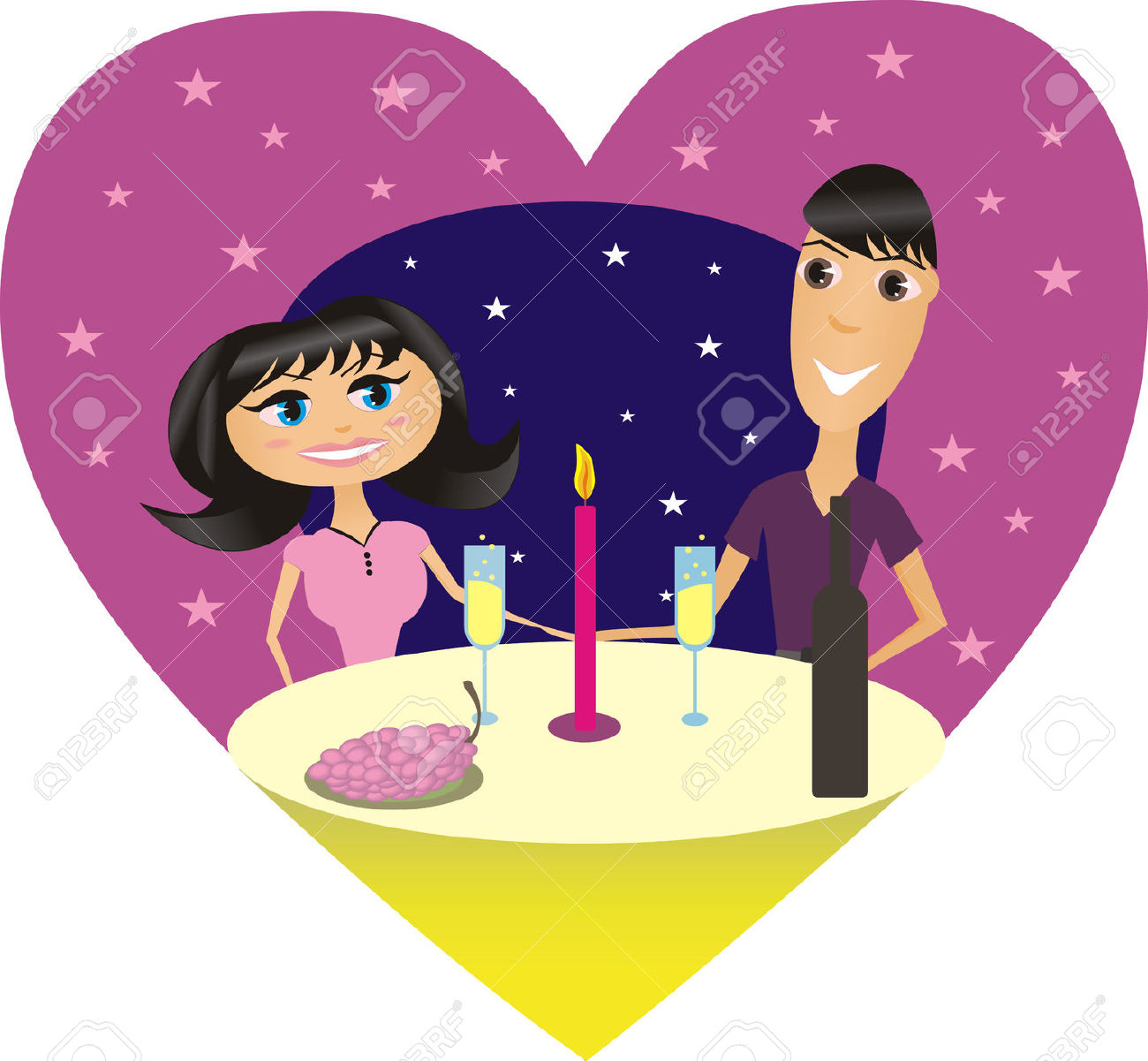 Illustration Of A Romantic Supper Of Happy Couple/ Royalty Free.