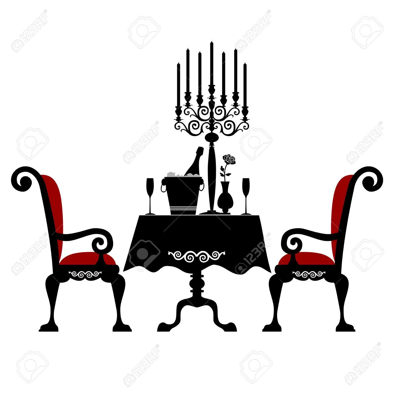 Cena Romantica Per Due Clipart Royalty.