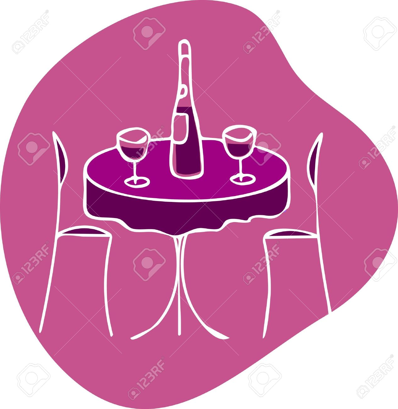 Table With Wine And Two Chairs.