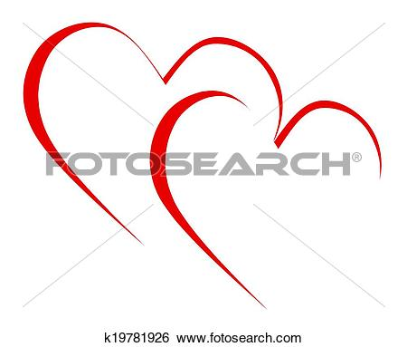 Stock Illustration of Intertwined Hearts Mean Romanticism.