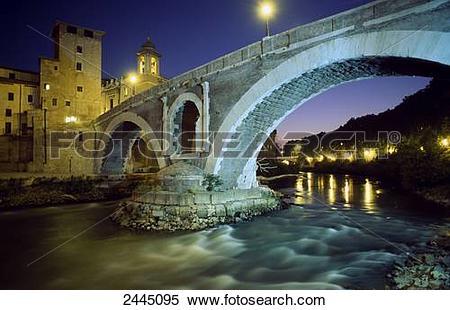 Stock Image of Arch bridge over river at night, Pons Fabricius.