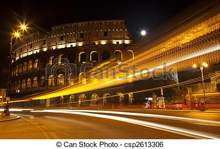 Stock Image of Colosseum Street Abstract Night Moon Rome Italy.