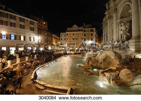 Stock Photo of The Trevi Fountain (Fontana di Trevi) at night.