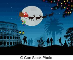 Vector Clipart of People at night in Rome with santa claus and.
