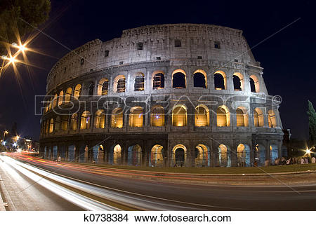Stock Photo of collosseum rome italy night k0738384.