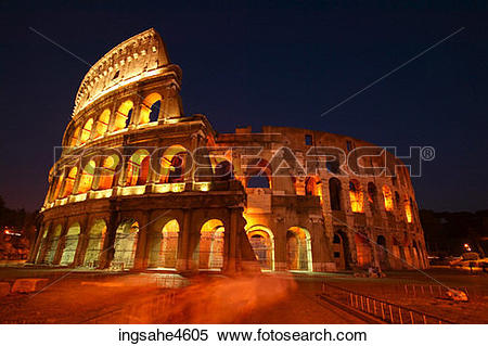 Stock Image of Lights on the Coliseum in Rome at night ingsahe4605.