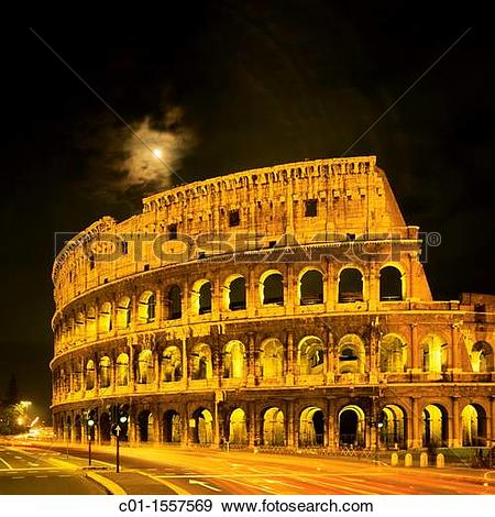 Stock Photograph of Colosseo, Colosseum at night, car traffic.
