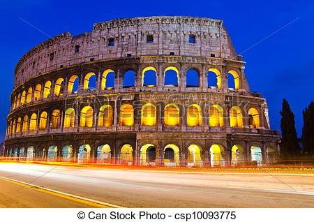 Picture of Colosseum at night, Rome, Italy.