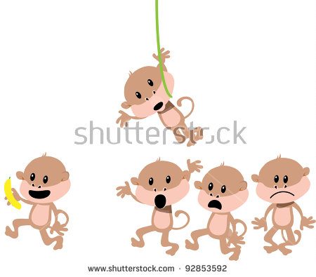 Funny Monkey Cartoon Romp Stock Vector Illustration 92853592.
