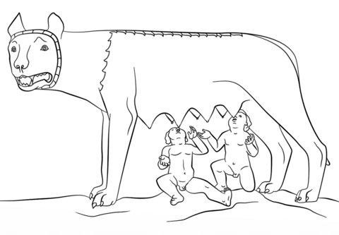 Romulus and Remus with the She Wolf coloring page from.