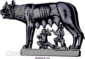 Statue of Romulus and Remus Vector Clip art.