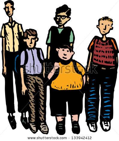 Vector Illustration Group Teen Boys Stock Vector 133942412.