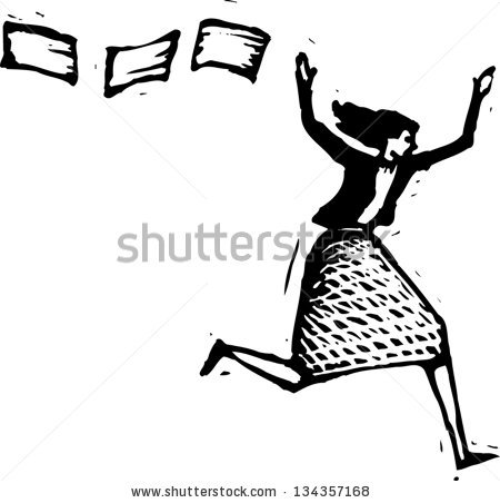 Black White Vector Illustration Stressed Out Stock Vector.