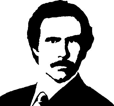 Anchorman Ron Burgundy stencil template.