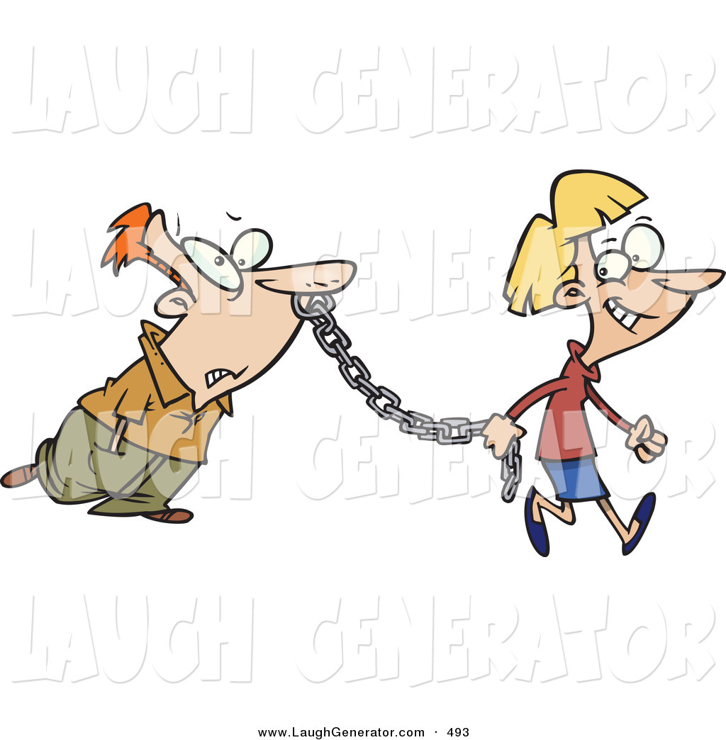 Humorous Clip Art of a Smiling Woman Leading a Man on a Metal.