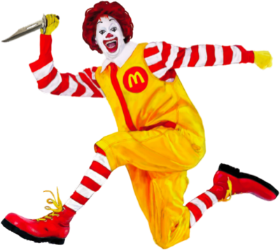 Ronald McDonald With A Knife (PNG).