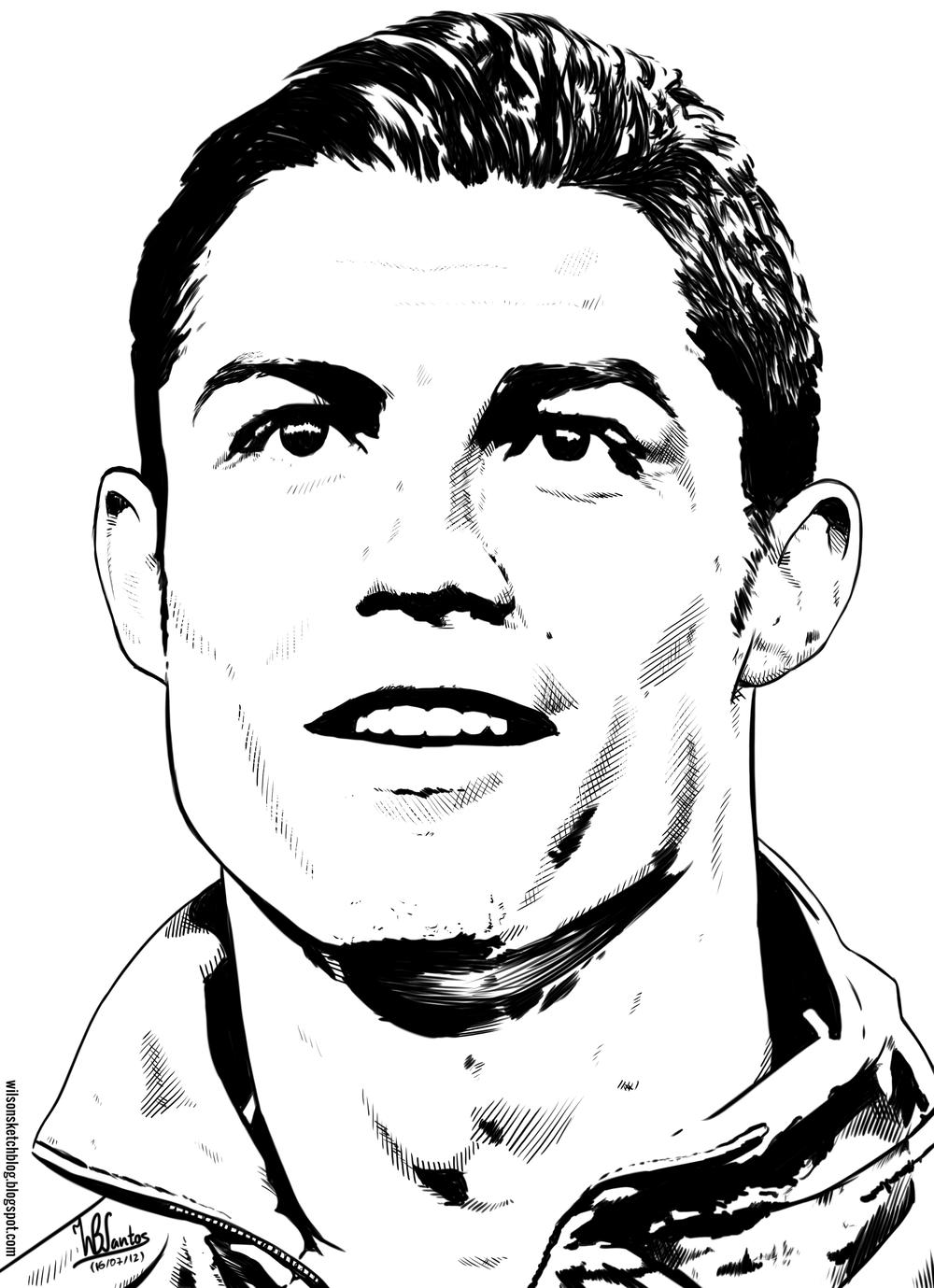 Cristiano Ronaldo face line art drawing in 2019.