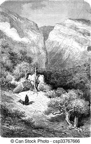 Stock Illustration of Ravine in the Sierra de Ronda, vintage.