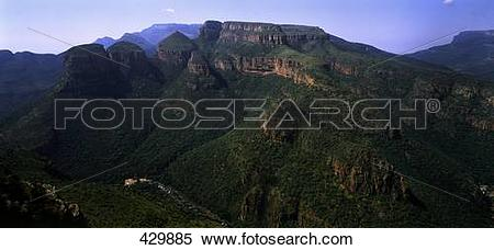 Stock Image of Rondavels on mountain, Blyde River Canyon, South.