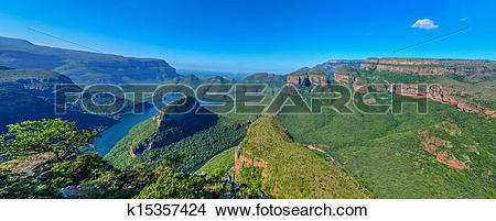 Stock Photo of Blyde River Canyon and The Three Rondavels.