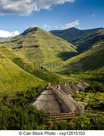 Stock Images of Rondavels in the Maluti Mountains of Lesotho.