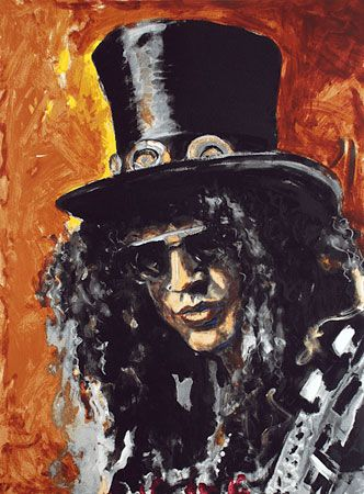 Ronnie Wood: Slash Ronnie Wood paints and shows musical movement.