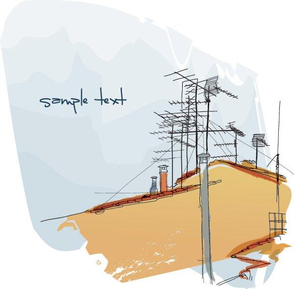 Antenna Roof Icon Set.