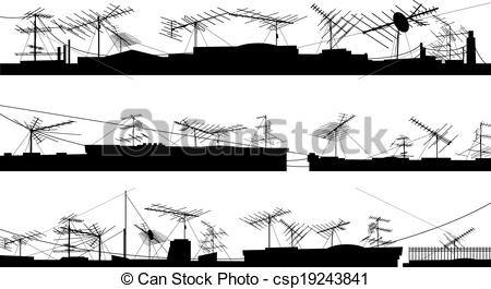EPS Vector of Silhouettes of roof with antennas..