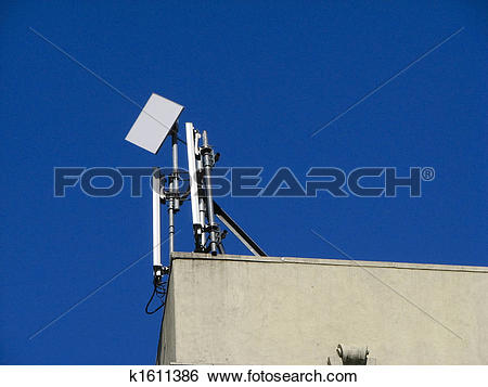 Stock Images of Wireless antenna on roof k1611386.