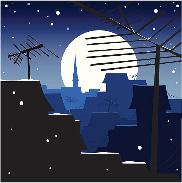 Roof Night Antenna Aerial Snow Clip Art, Vector Images.
